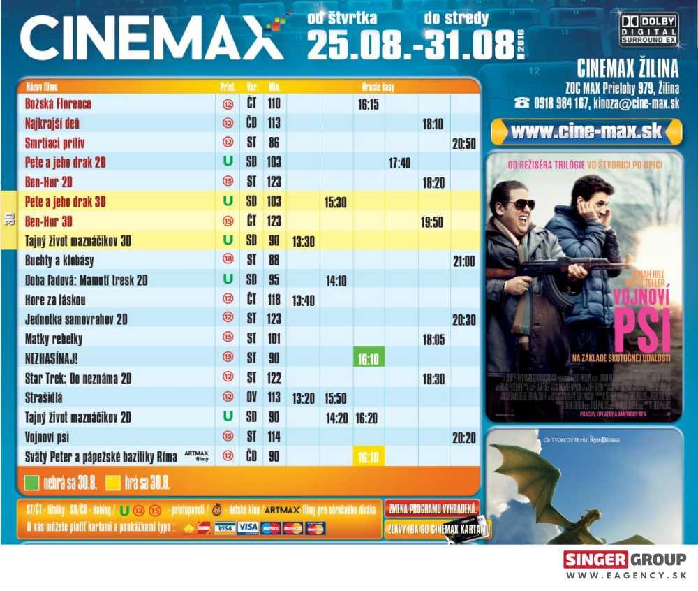 aa0e32fe9 Program kina Cinemax Žilina | SINGER • MEDIÁLNA A EVENTOVÁ AGENTÚRA